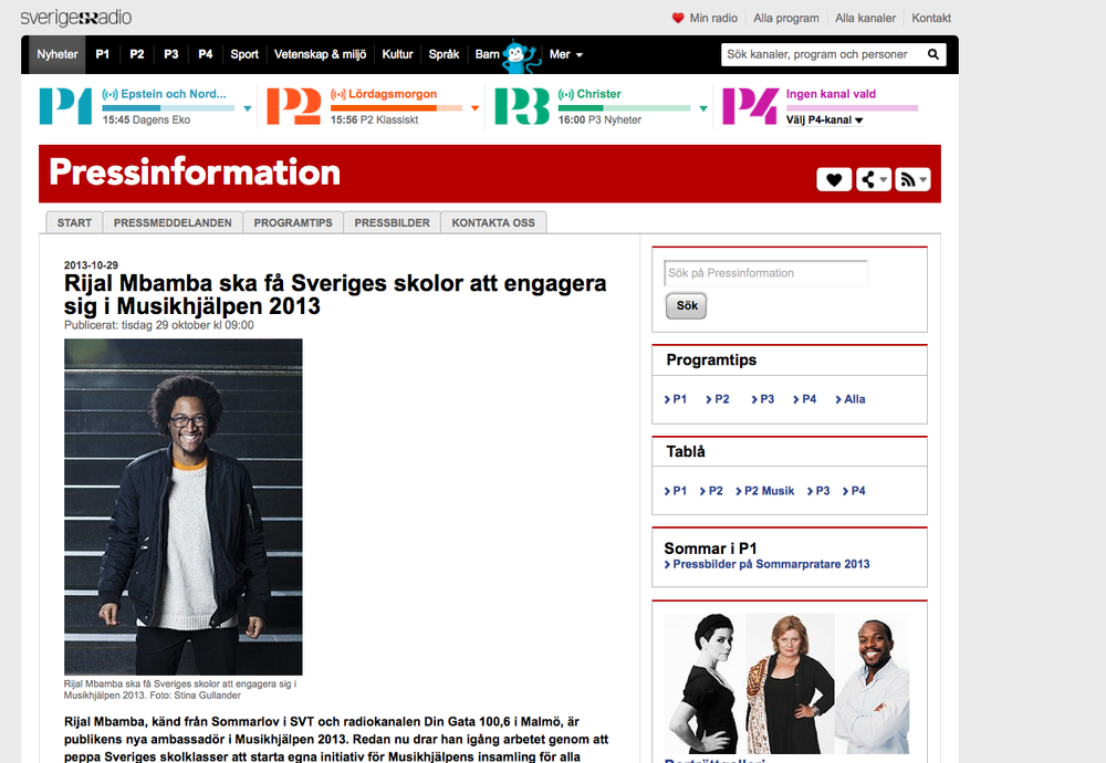 "Pressrelease for Swedish Radios "" Musikhjälpen 2013"""