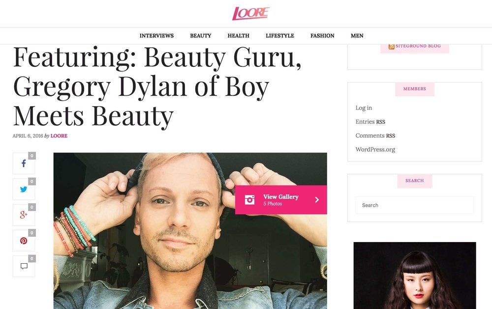 Loore: Beauty guru Gregory Dylan of You Tube's Boy Meets Beauty