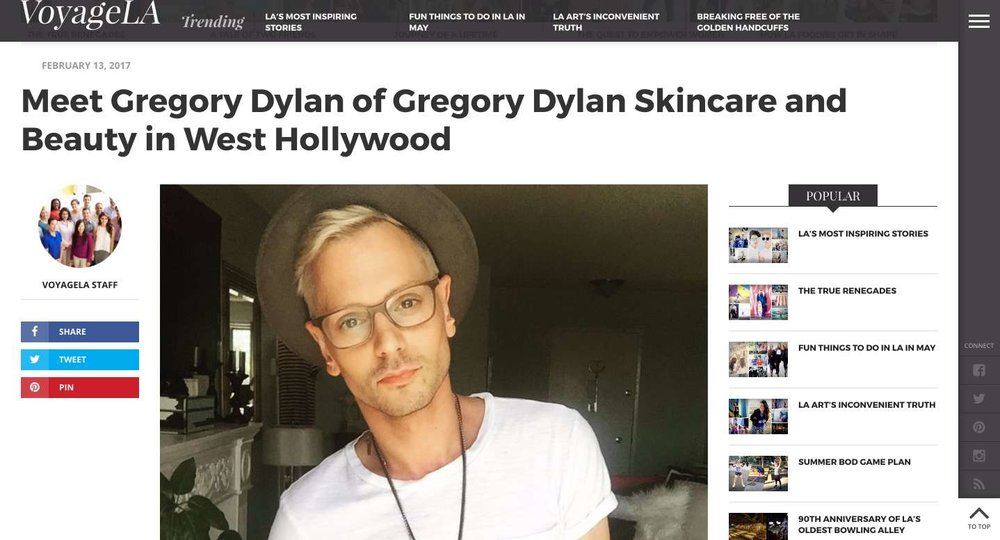 Voyage Los Angeles: Meet Gregory Dylan Skincare and Beauty
