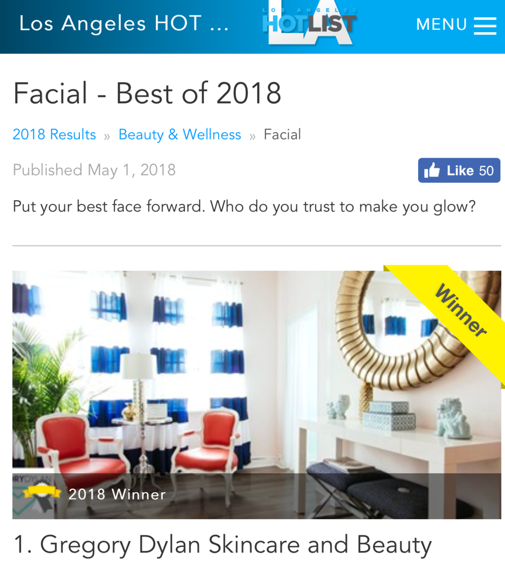 Los Angeles Hot List 2018, Best Facial: Gregory Dylan