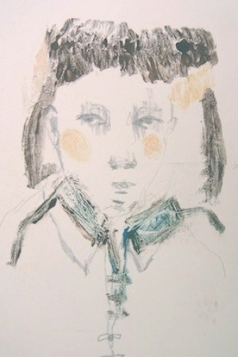 Eric Boucourt   Untitled,  2013 Monotype, oil paint, color pencils 4 x 6 inches $500 framed
