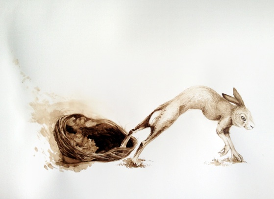 Krista Dragomer     The Host, The Passage    ,  2013   Walnut Ink on Paper 37 x 15 in   $1,500