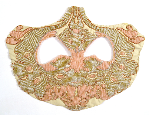 Rachel Frank     Glacial Mask ,   2013   Glass Beading, Upholstery Fabric   14 x 19 in     $1,200