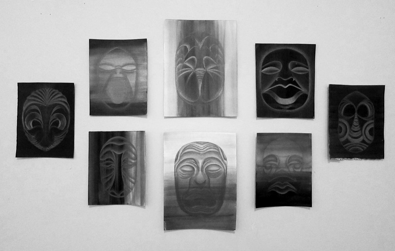 Edra Soto   Portrait of Life and Death , 2012 Gouche and Graphite on Paper 5 x 7 in and 8 x 10 in (Set of 8) $ 900 (complete set)
