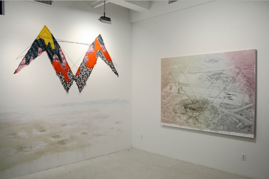 Eric LoPresti / Amanda Browder Forced Collaboration (Eric on Amanda), 2012 Acrylic, graphite, tape, and sculpture on wall 16x10 feet (installed) $ 7500