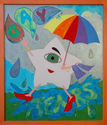 Eric Hibit Gay Tears, 2012 Acrylic on paper, wood 21.5 x 18.5 inches $2400