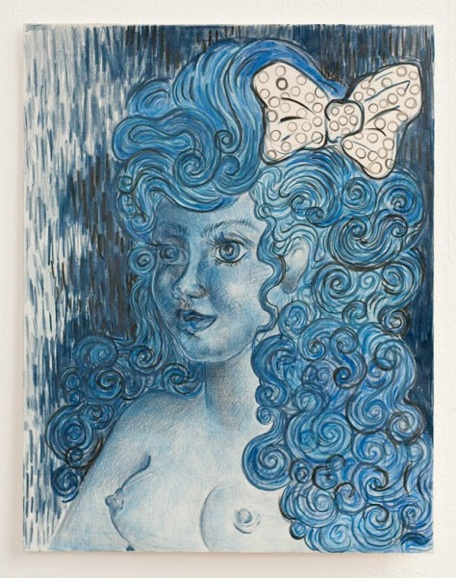 Irena Jurek Self-Portrait with Bow, 2011 Colored Pencil on Canvas 14 x 11 inches Price: $900 Frame Price $185