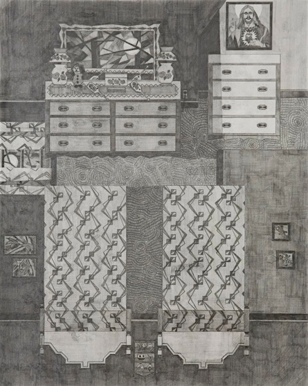 Ann Toebbe Jesus in my Bedroom, 2009 Pencil on paper 20 x 18 inches 27 x 22.25 inches framed $1800 framed