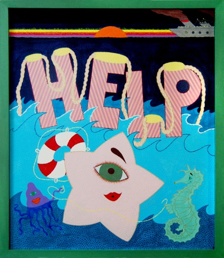 Eric Hibit HELP, 2012 Acrylic on paper, wood 21.5 x 18.5 inches $2400