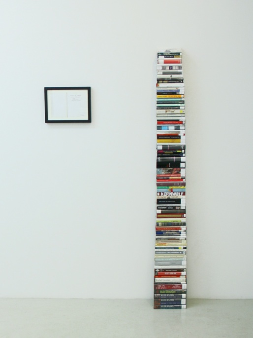 Aaron Krach The Author of This Book Committed Suicide, 2012 Library books, rubber stamp, action Installation & documenation $2000, edition of 3