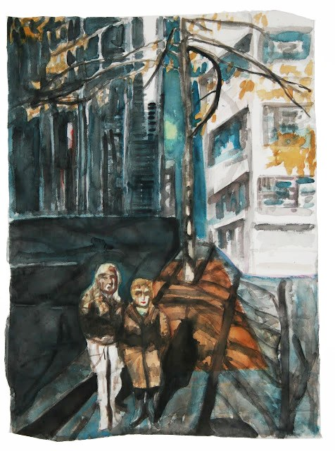 Polina Barskaya   Tourists,  2012 Watercolor on paper 30 x 22 inches $1600