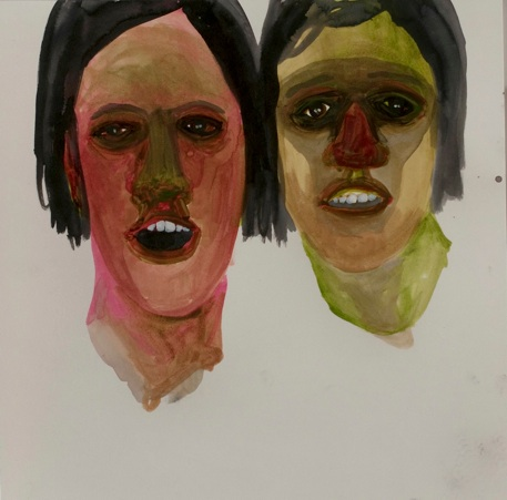 "Sarah Gamble     Afterparty ,  2012 Acrylic, ink on paper 12x12"" $1,000"