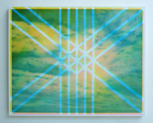 "Rachel Ritchford Untitled (Blue/Pink/Yellow) Oil on panel 24x36"" $2,600"