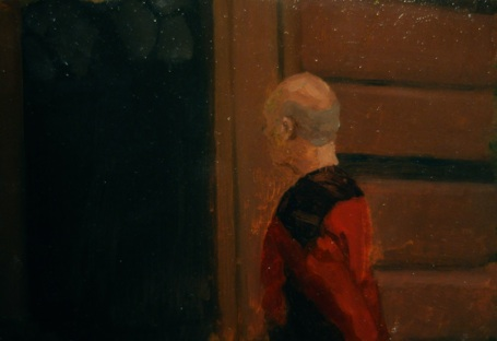 "Shawn Gallagher  P atrick Stewart Through A Glass Darkly , Oil on copper 5 x 7"" $625"