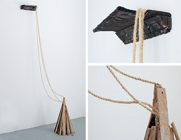 Abraham McNally   Untitled Sculpture,  2009 Wood, lathe, rope  24 x 24 x 108 inches   $2000