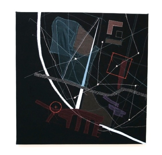 Christine Gedeon Plotting Chelsea, 2012 Thread, fabric, paint on black raw canvas 35 x 35 inches $2500