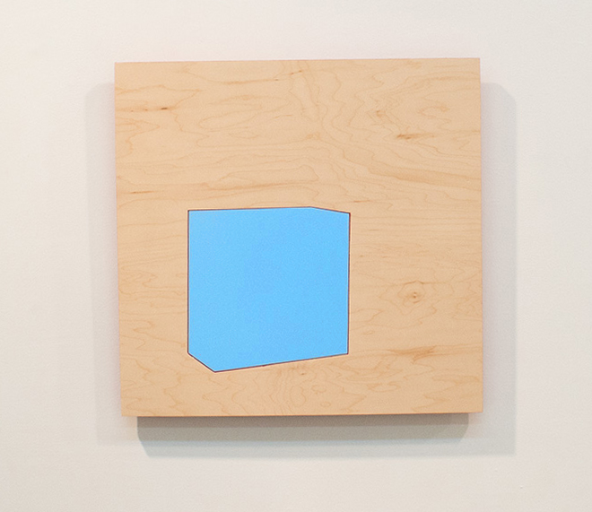 Tom Kotik Blue Fender, 2013 wood, paint 17 x 17 x 1.25 inches