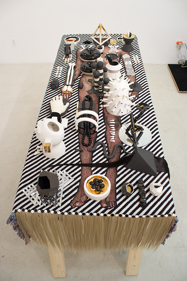 Richard Hart Godspeed/Vessel (C.dM) table, blanket, hair, mixed media, porcelain sculptures
