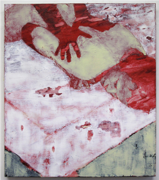 "Doron Langberg. Red Hands. Oil on Linen. 32"" x 28"". 2013."