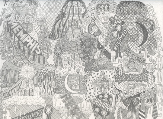 Alex O'Neal,  Shrine for Ice Cream Royalty #2 , 2013, Graphite on paper, 9 x 12 inches