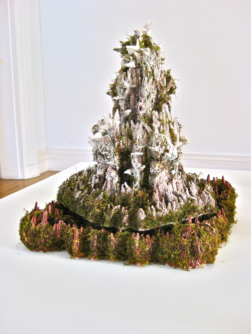 Heidi Lau,  The Fortres , 2012, Glazed ceramics, moss, 27 x 18 x 16 inches