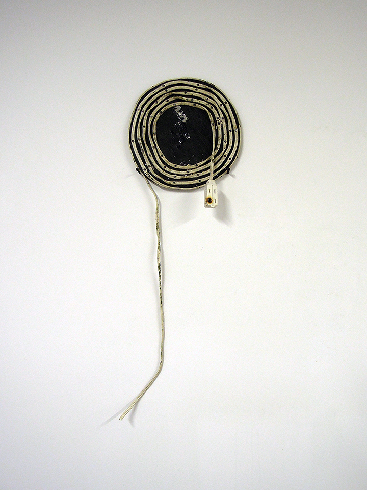 Laura Judkis,  Slow Burn , 2013, Found electrical cord, wood, ink, 10 ½ inches (diameter)