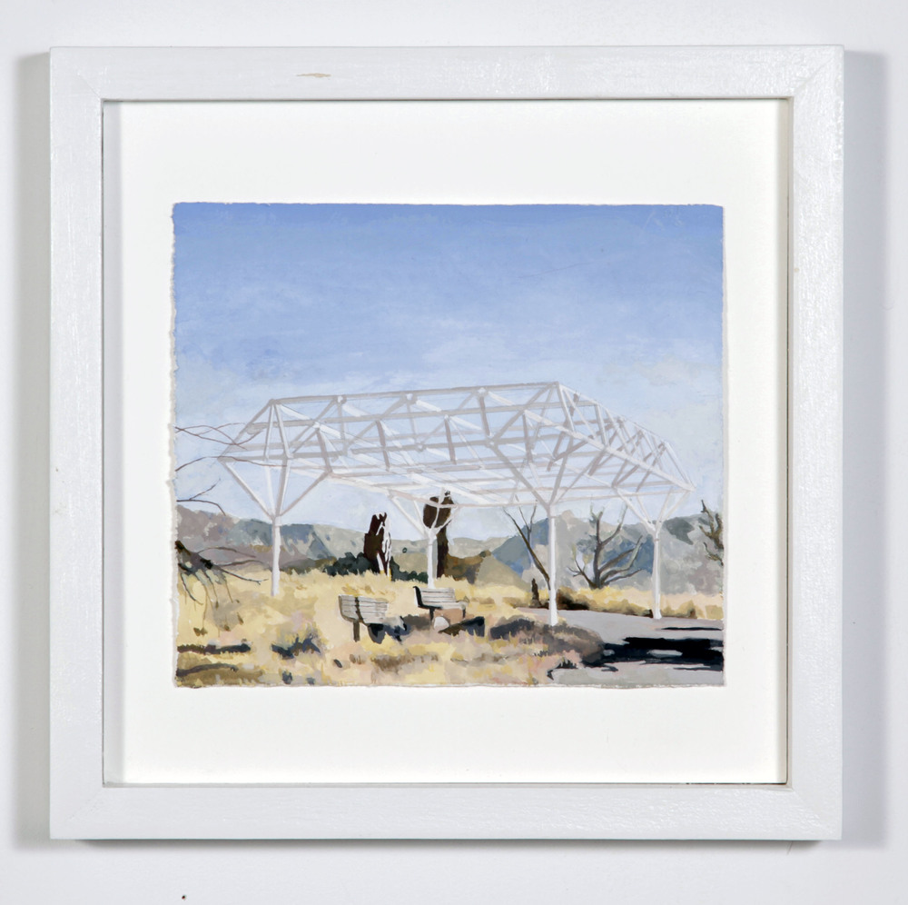 """(Pavilion),2014,gouache on paper,11.5x11.5x1.5"""""""