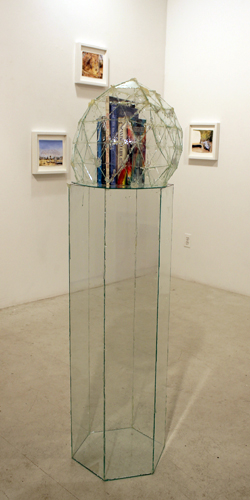 TOWER, 2014, glass, epoxy, books, 54x16x16""