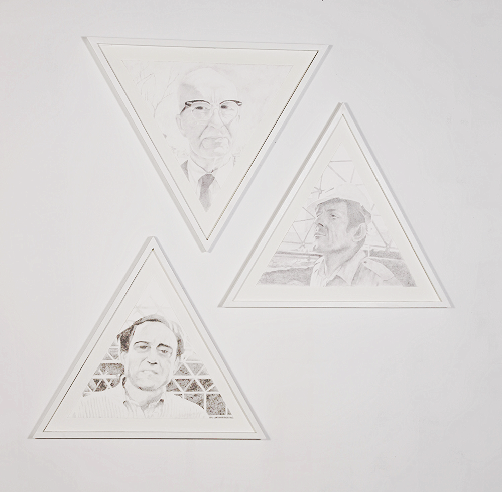 "FOUNDERS (Ed Bass, John Allen, Buckminster Fuller), 2014, pencil on paper, 27x31x1.5"" ea."