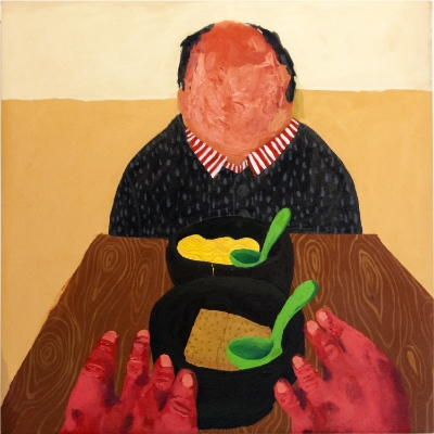 Nicole Dyer  Dinner with Gabe , 2014 Acrylic on canvas 30 x 30 inches $1,400
