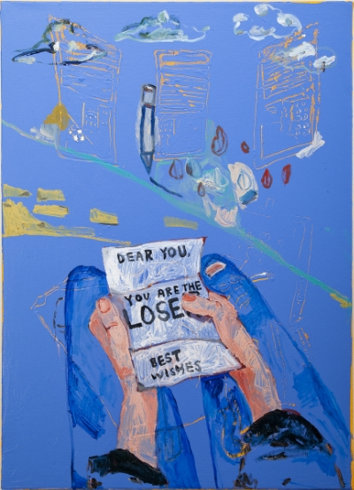 Matt Hilvers  L. (but it's ok) , 2015 Oil, acrylic on canvas 26 x 36 inches $2,600