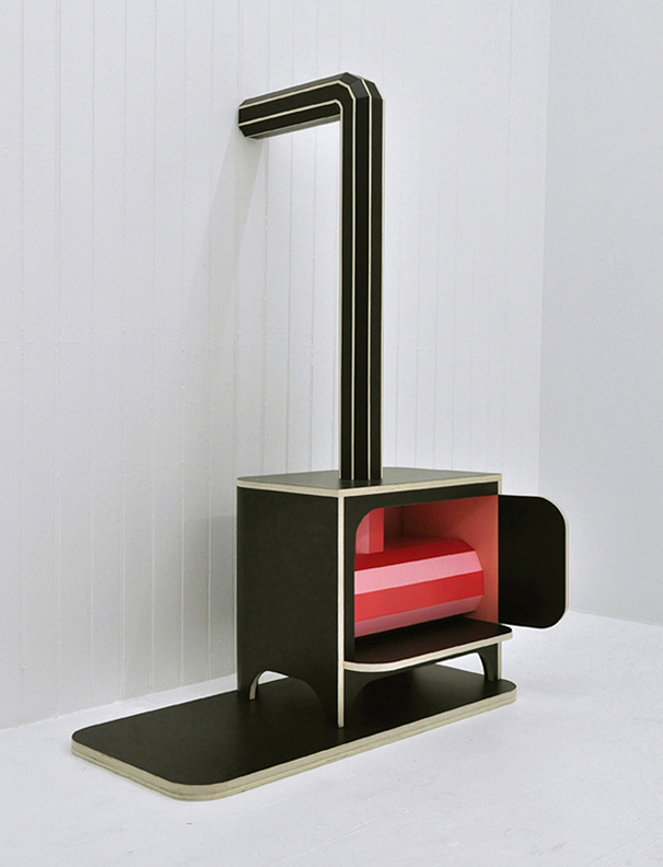 "Donald Morgan,  Stove , 2012, Acrylic laminate, enamel, rubber, and maple plywood, 55"" x 37"" x 26"""
