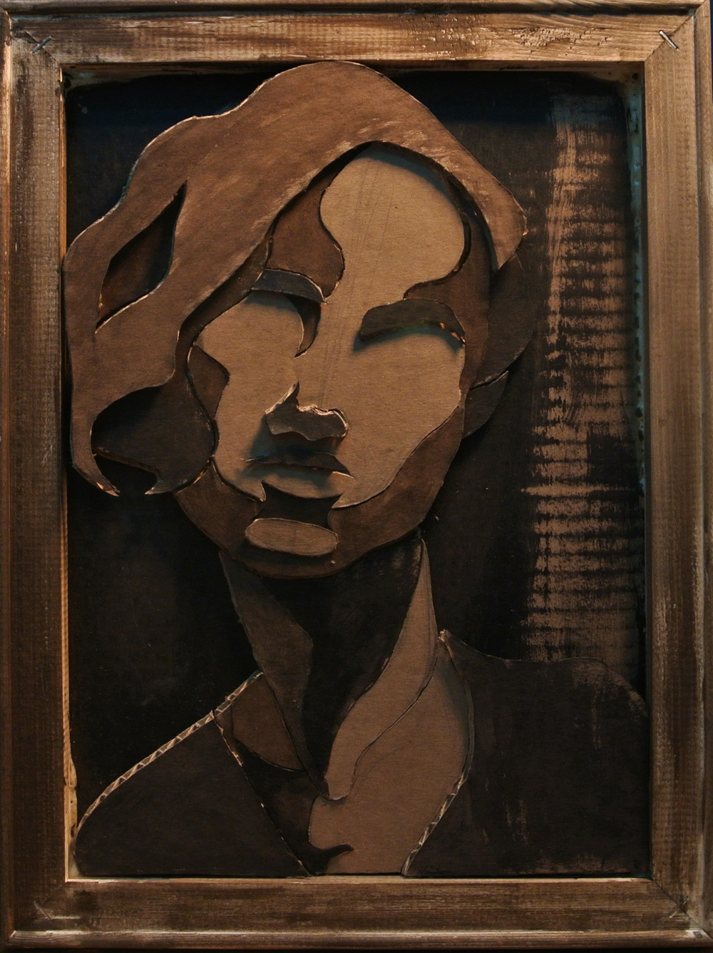 Sarah von Puttkammer, Self Portrait, Cardboard, wood, and acrylic paint, 16 x 12 inches