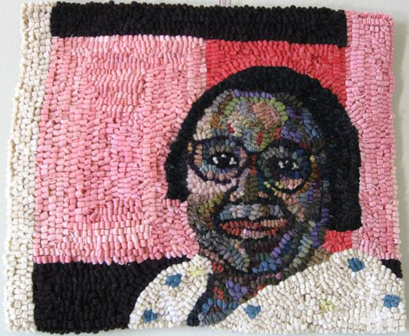 "Mary Tooley Parker, Mary Lee Bendolph, Gee's Bend Quilter, Mixed Media Textile, 15""x15"""