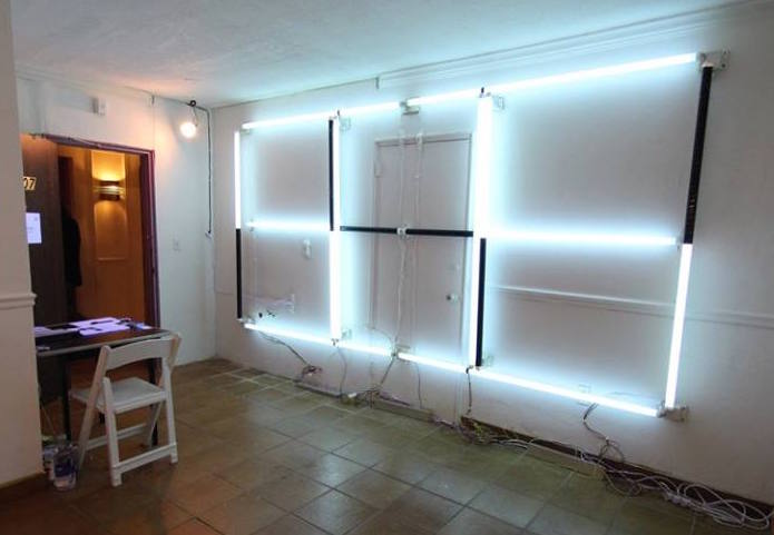 Patrick McDonough,  152411-tanning bulbs (SOS) , 2015, Tanning lamps and electronics, 12' x 6' x 5', Installation view from Full-Scale Exercise