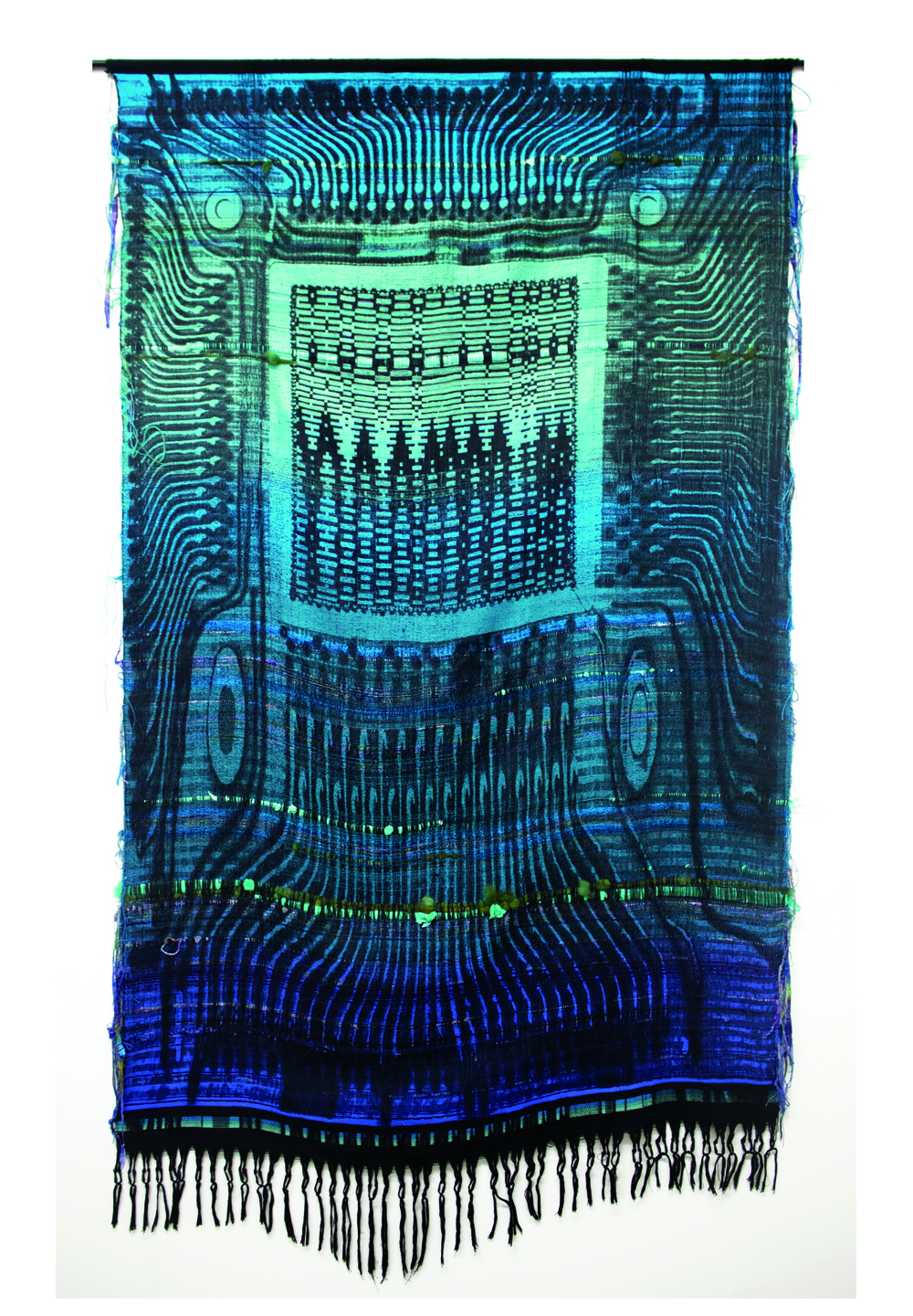 Robin Kang, Phantasmatic Data Dawn, 2015, Hand jacquard woven cotton, wool, synthetic fiber, plastic, metal rod, 56 x 98 in