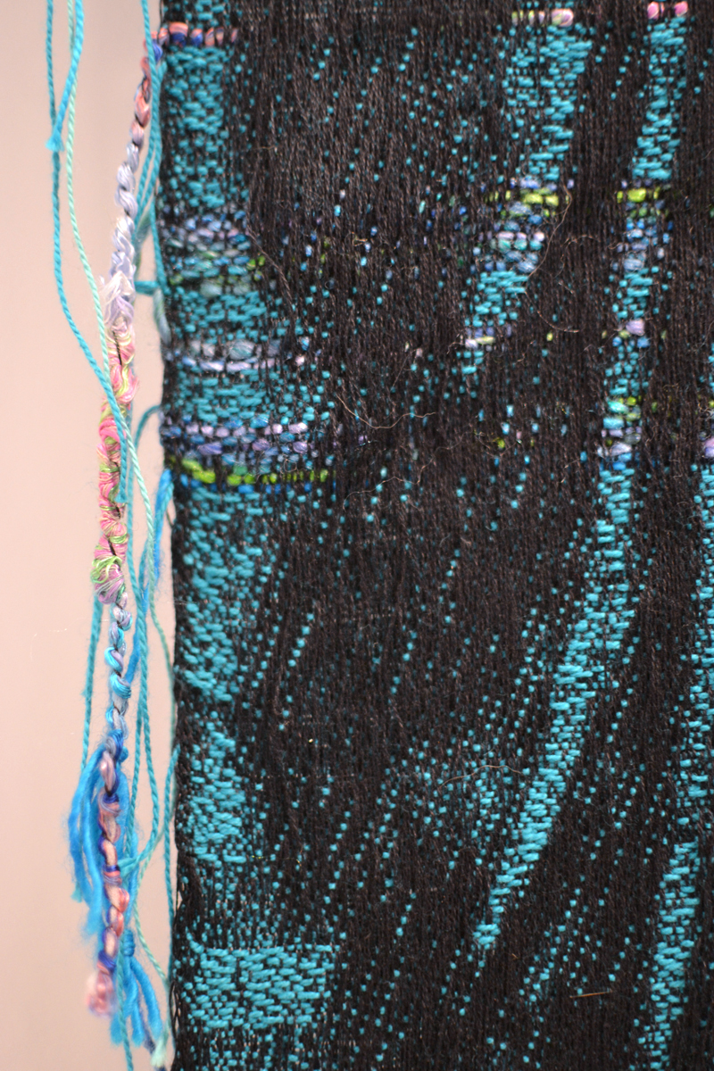 "Robin Kang, detail of ""Phantasmic Data Dawn"", 2015, Hand Jaquard woven cotten, wool, sythetic plastic, 56 x 98"""