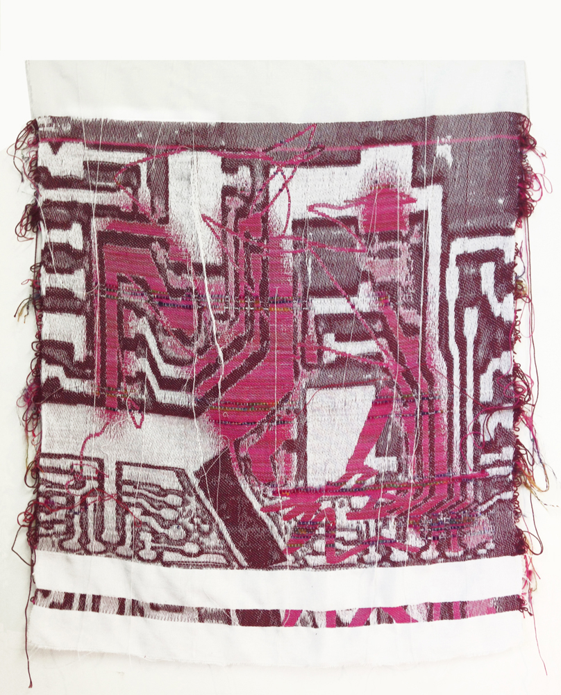 Robin Kang, Chipset Artifact Hand Jacquard woven cotton and synthetic fibers 33 x 31 inches, 2014