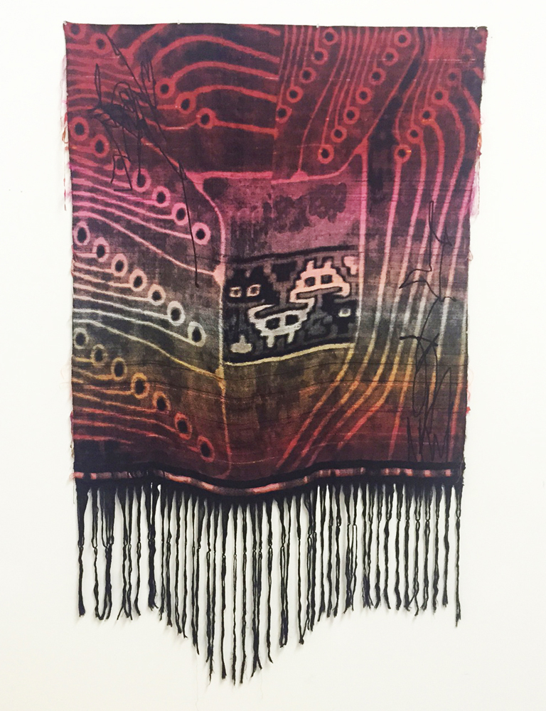 "Robin Kang, Encrypted, Hand Jacquard woven cotton, tencel, and synthetic fibers 53 x 87"", 2015"