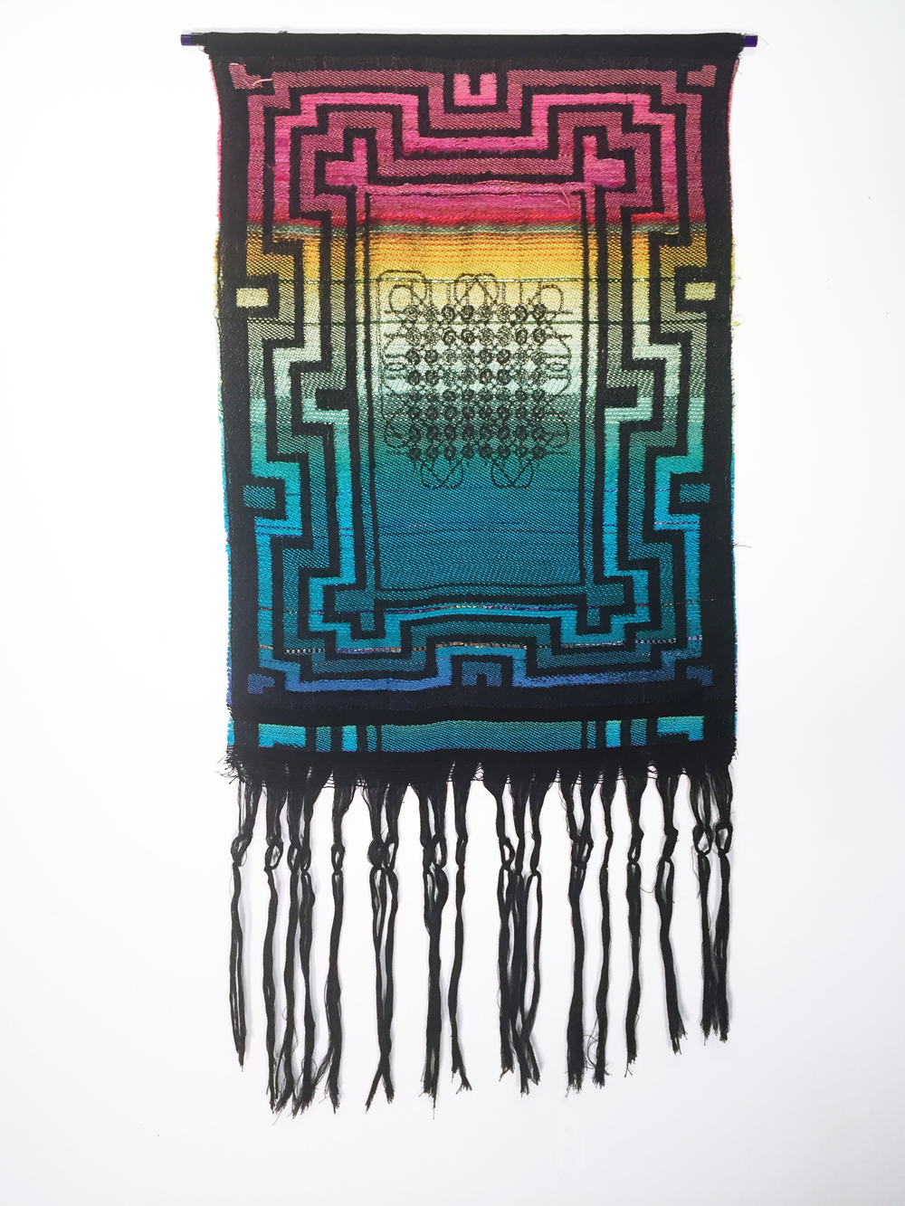 "Robin Kang, Magnetic Memory Morning, Hand Jacquard woven cotton, hand dyed wool, alpaca, and synthetic fibers 19 x 38"", 2016"