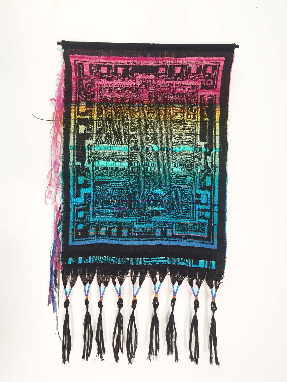 "Robin Kang, Integrated Circuit Spectrum, Hand Jacquard woven cotton, hand dyed wool, alpaca, and synthetic fibers 19 x 35"", 2016"