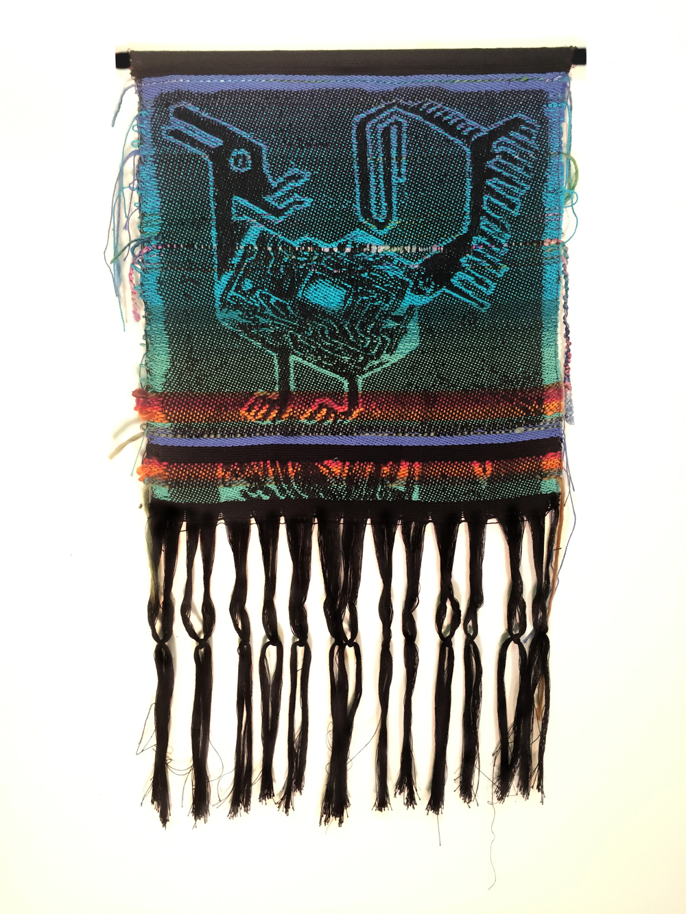 "Robin Kang, Thunderer's Llama, Hand Jacquard woven cotton, hand dyed wool, and synthetic fibers 12.5 x 22"", 2016"
