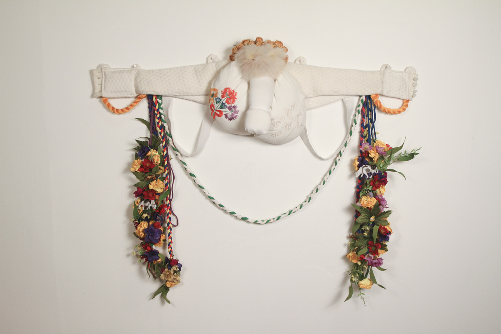 "Nikki Arendt / Love From Me to You / 2015 / found tween blouses, dried roses, rabbit fur, ink, plastic flowers and leaves, plastic trinkets and animals, thread, jersey material / 3' x 29"" x 6""   http://nicolearendt.com/"