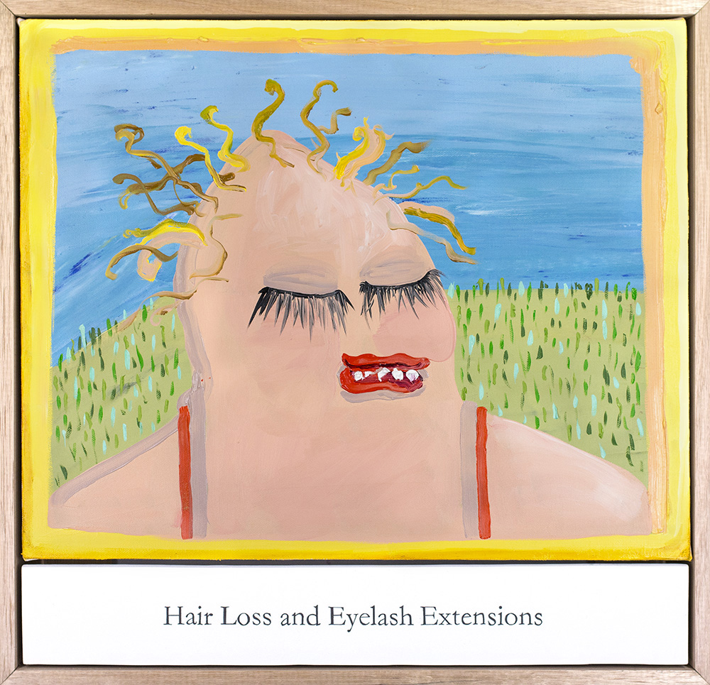 """Amber Boardman Hair Loss and Eyelash Extensions Oil on canvas, ink on panel 21 x 20"""""""