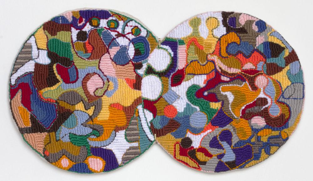 "Eric Legris ""Circles""/ wool, polyester, cotton, aluminum / 12"" X 22"""