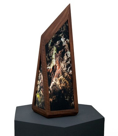 "Kirsten Thoen   ""Metronome""/ American black walnut, photo-transparancy films, plexiglass, electronic components 7"" x 9"" x 22.5"""