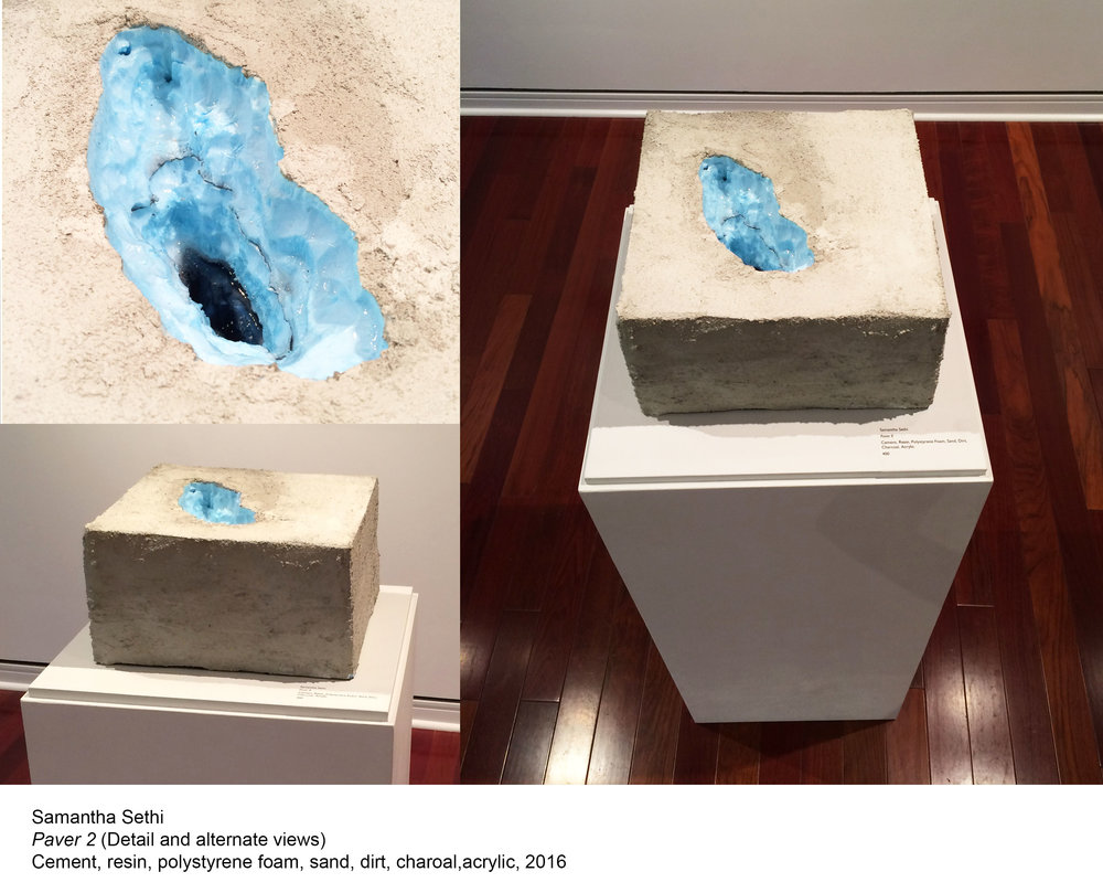 "Samatha Sethi ""Paver II"" / cement, resin, polystyrene foam, sand, dirt, charcoal, acrylic / 12""x12""x6"""