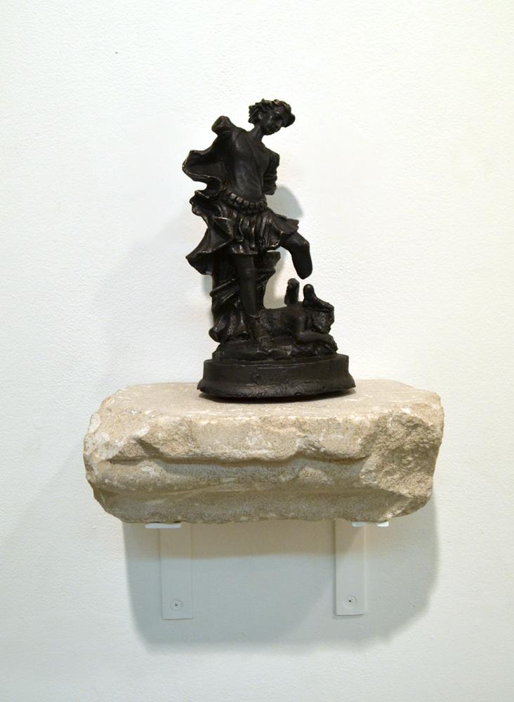 "Micha'el, Michael, Mīkhāīl, 2017, cast iron, limestone, 8 3/4"", 5"", 12"""