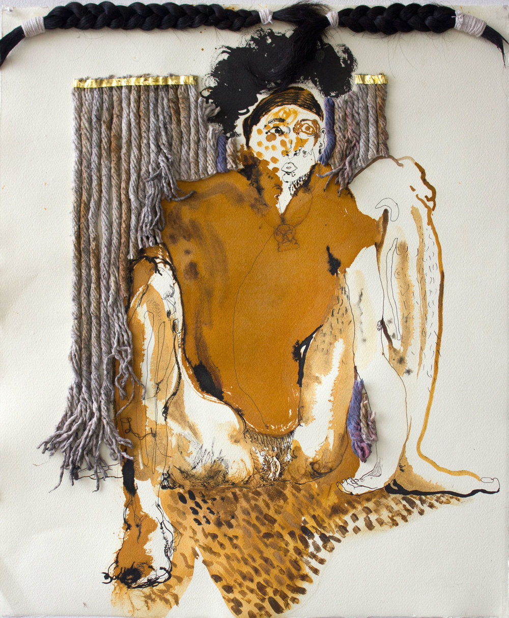 "Sahana Ramakrishnan ""Untitled Self Portrait"" 2016, ink, ferric chloride, artist hair and mop on paper, 19"" x 22"""