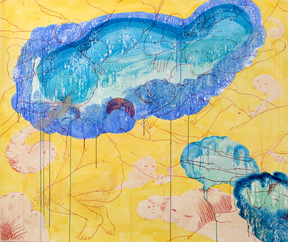 "Nicole Maloof ""The Stuff Dreams Are Made Of"" 2016, crayon and acrylic on polypropylene, 60"" x 72"""